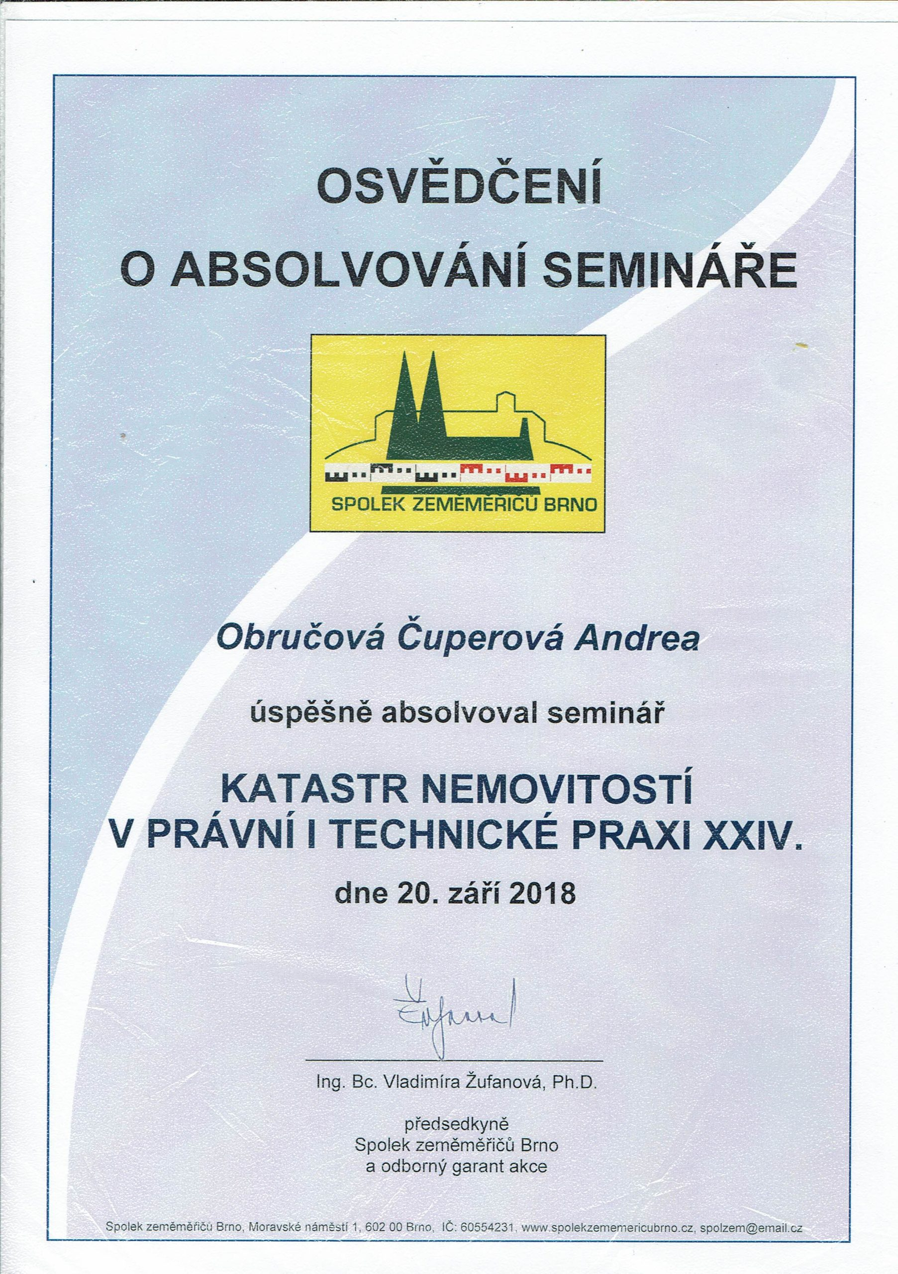 Certifikát školení katastr 2018