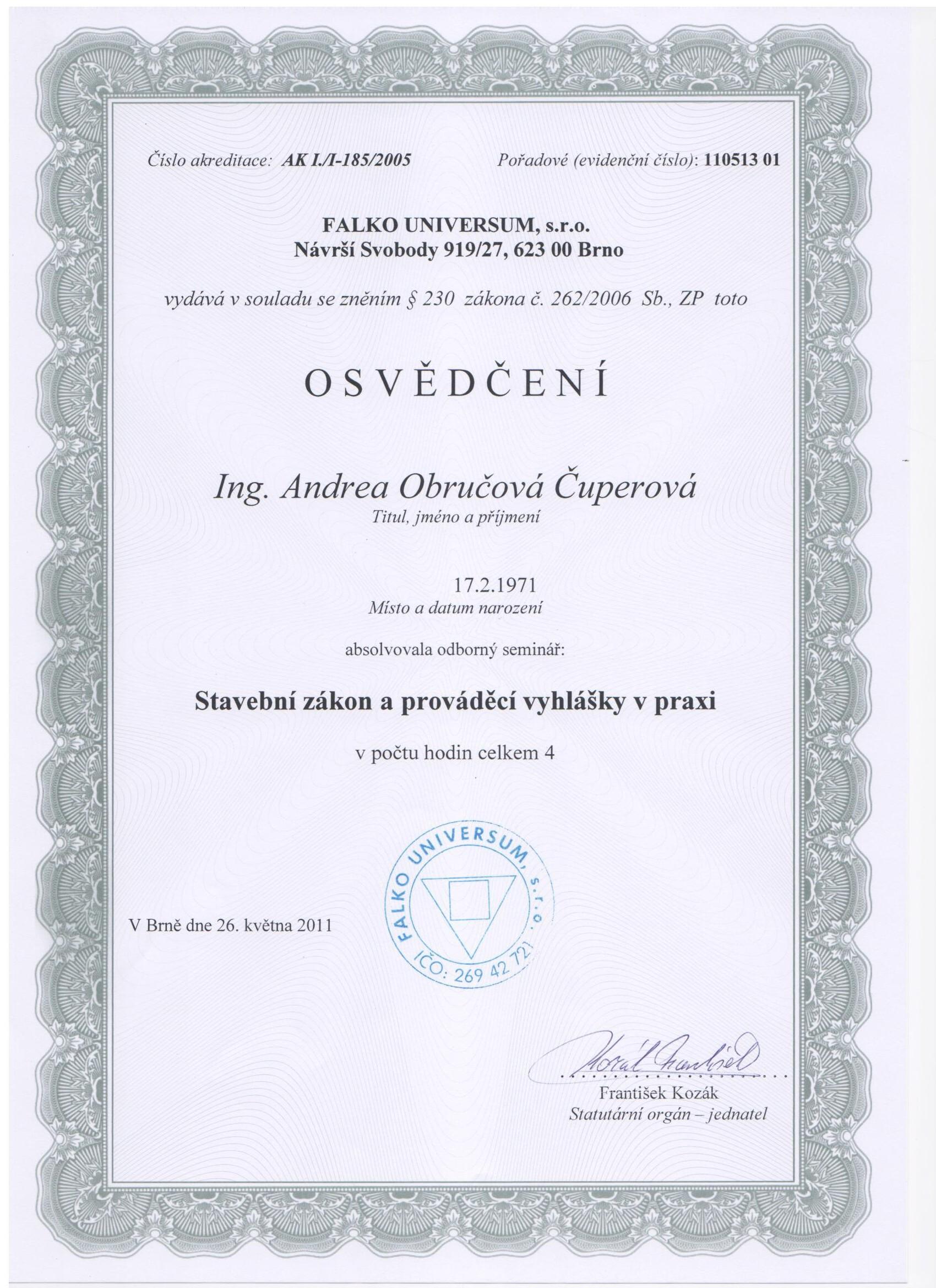 Osvedceni stavebni zakon 2011